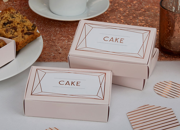 Pink And Rose Gold Cake Boxes (x 10)