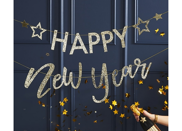Gold Glitter Happy New Year Garland