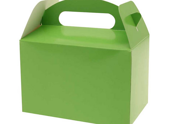 party boxes, party boxes for children's party, green party boxes, party boxes in green