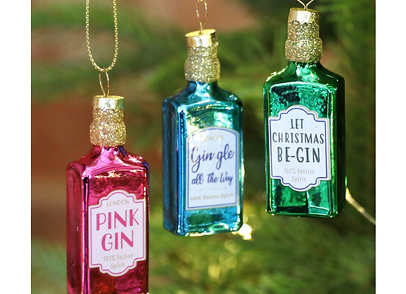 Christmas tree decorations, gin related Christmas decorations, glass tree decorations