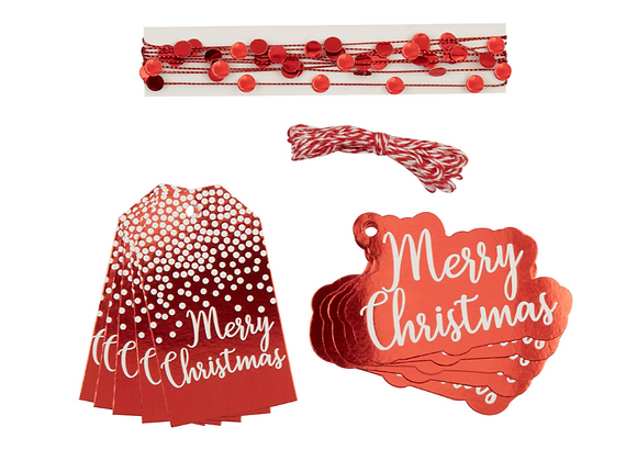 Christmas Red And White Gift Wrapping Set