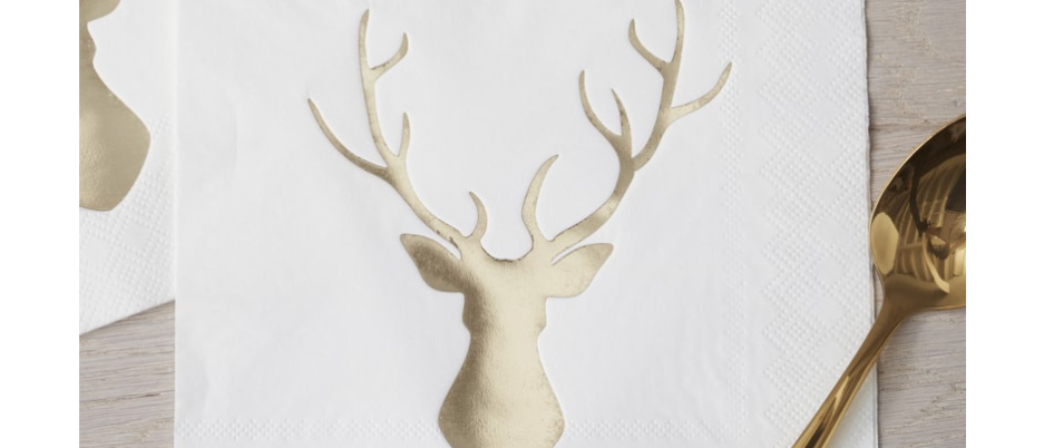 Gold Foiled Stag Napkins x 20