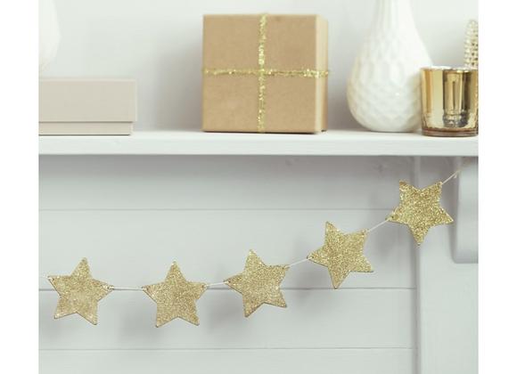 Gold Glitter Wooden Star Garland