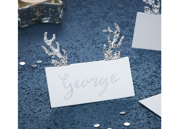 Silver Glitter Antler White Place Cards