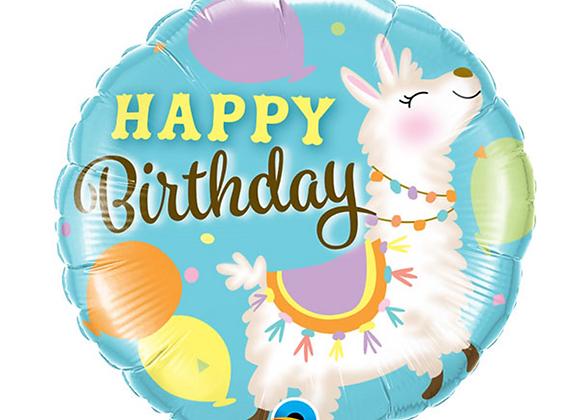 """Inflated Happy Birthday Llama 18"""" Balloon"""