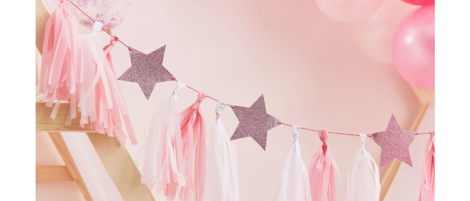 pink party decorations, girls party decoration, pink tassel garland, pamper party decorations