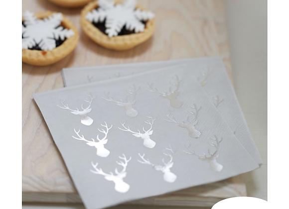 Christmas napkins, Christmas paper napkins, stag design Christmas napkins, silver Christmas napkins