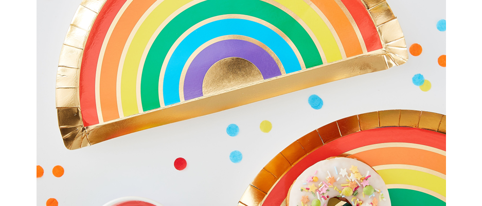 rainbow party tableware, rainbow party plates, plates for a rainbow party, Ginger Ray over the rainbow theme