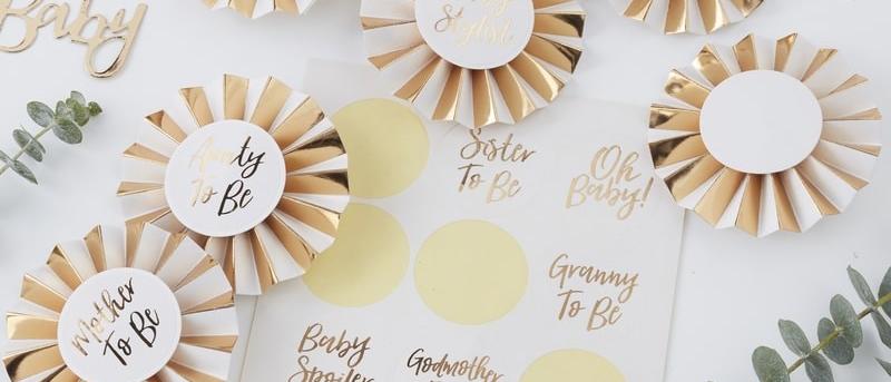Gold Foiled Baby Shower Guest Badges