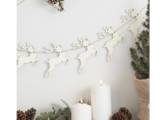Wooden Reindeer Garland
