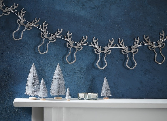 Silver Glitter Stags Head Garland