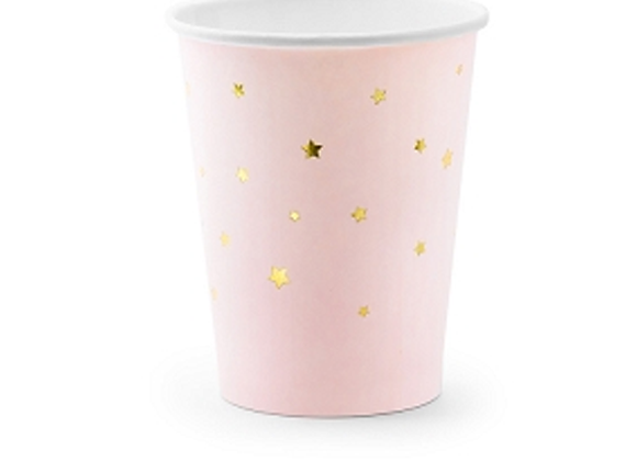 Light Pink Gold Stars Cups (x 6 pack)
