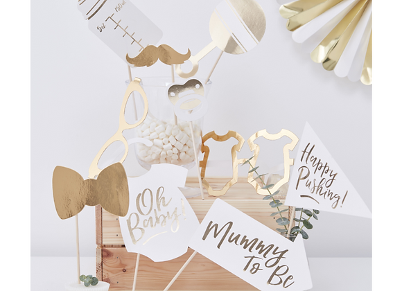 baby shower photo props, baby shower photo props, gold look baby shower games