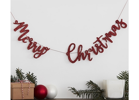 Red Glitter Wooden Merry Christmas Garland