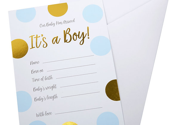 It's A Boy - Birth Announcement Cards