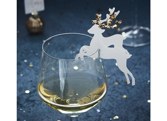 Christmas table decorations, gold table decorations, stag Christmas decorations, gold glitter table decorations
