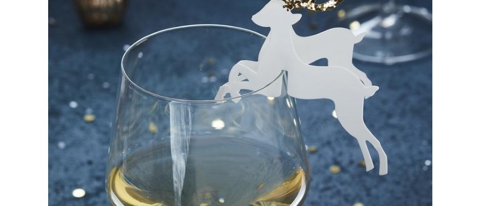 Gold Glitter Reindeer Glass Toppers x 10