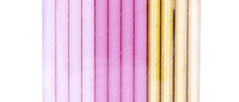 Pink And Gold Paper Straws (x 24)