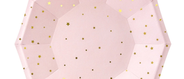 Pink And Gold Star Plates x 6 - 18 cm