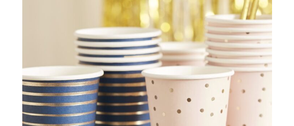 Pink And Blue Paper Cups (x 8)