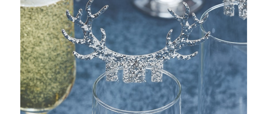 Silver Glitter Antler Glass Decorations x 10
