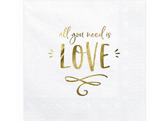 All You Need Is Love Napkins x 20