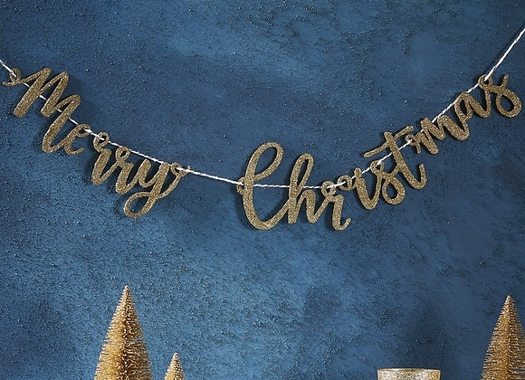 Gold Wooden Merry Christmas Garland