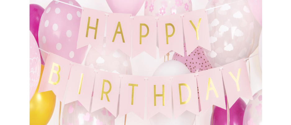 Happy Birthday Pink And Gold Banner