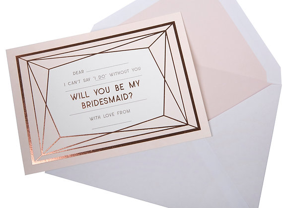Rose Gold - Will You Be My Bridesmaid Cards
