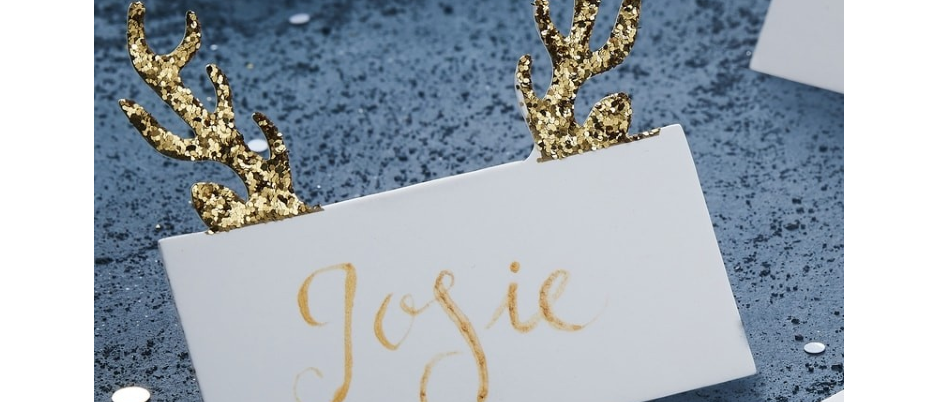 Gold Glitter Antler White Place Cards x 10