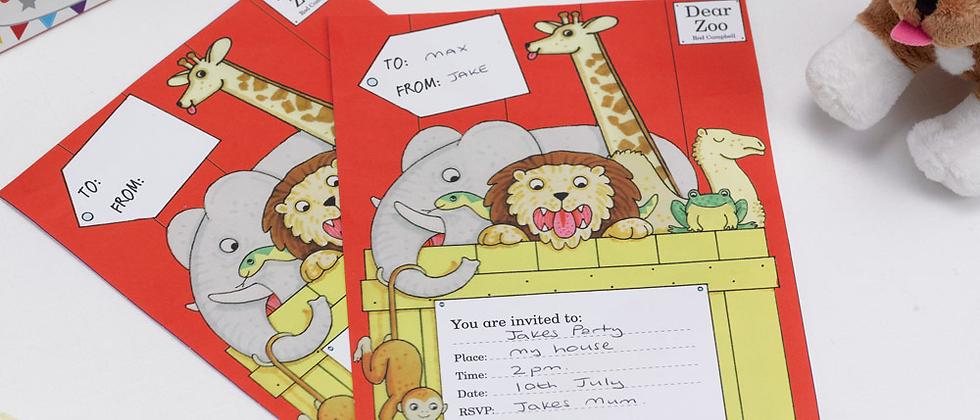 Dear Zoo Party Invitations