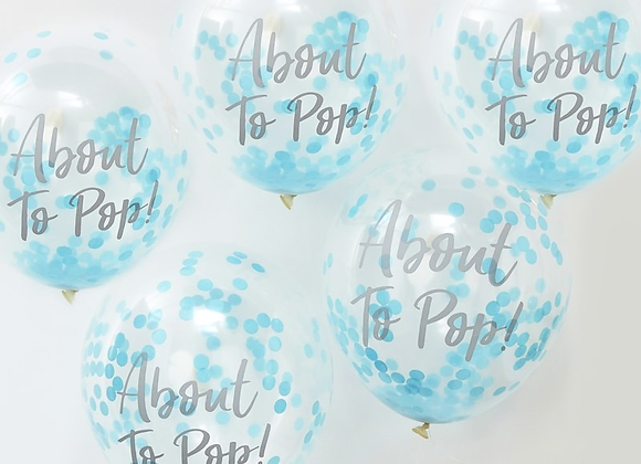 Blue Oh Baby Confetti Filled Balloons