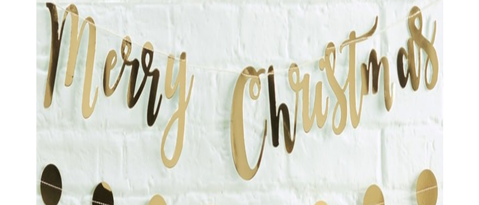 Gold Merry Christmas Garland