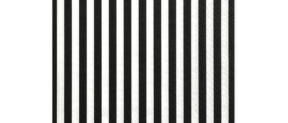 Black And White Striped Napkins x 20
