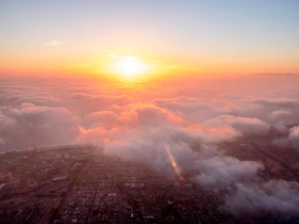 '50% chance of clouds', Above LAX, Los Angeles California
