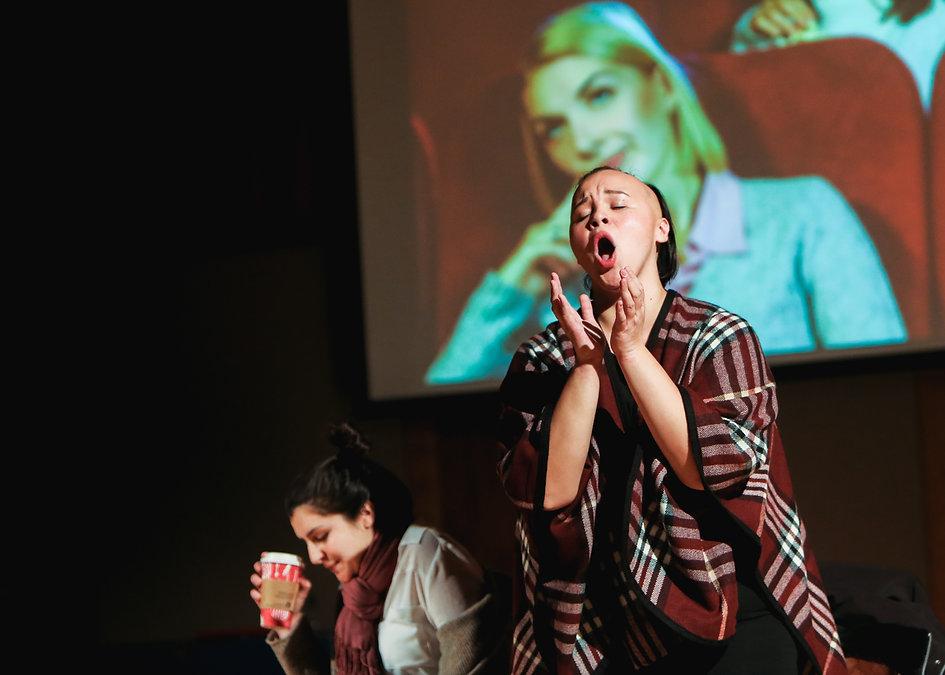 Rhaea D'Aliesio and Melanie Bacaling, She's Fabulous with Boston Opera Collaborative (Dan Busler, photo credit).