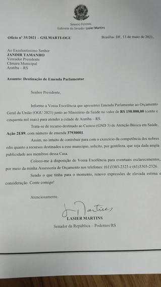 Tamanho consegue Emenda Parlamentar para a Saúde