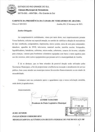 Vereador Jandir Tamanho pede doação da Receita Federal de Foz do Iguaçú