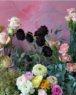 Flower backdrop with ranunculus