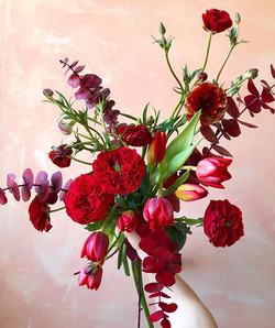 Hand held bouquet with garden roses