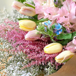 Wrapped bouquet with tulips