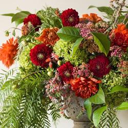 Seasonal arrangement with dahlias