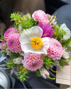 Delivery with dahlias & poppies