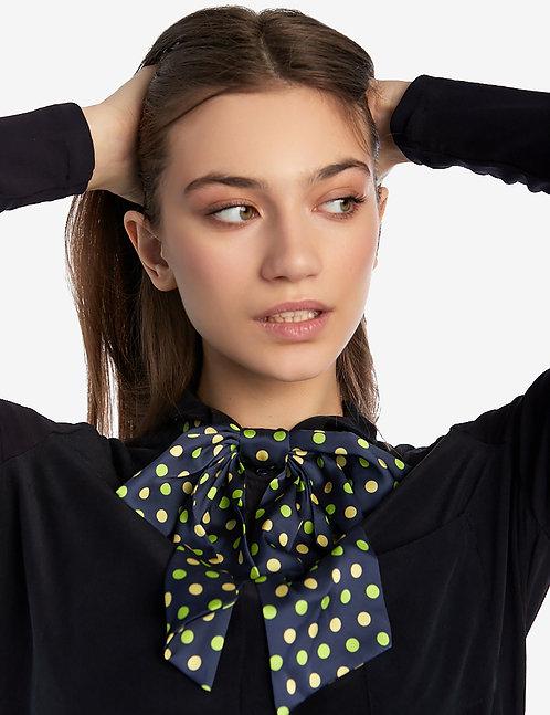 Silk bow tie blue polka dot