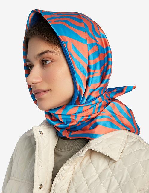 Head shawl orange zebra