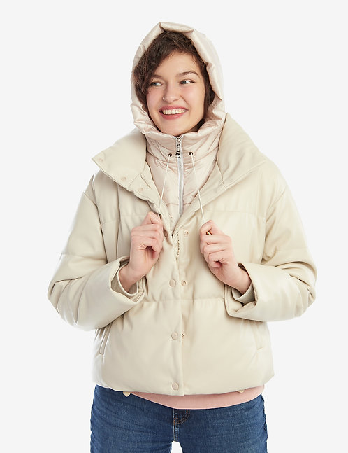 Puffer Hooded  Scarf Pearl