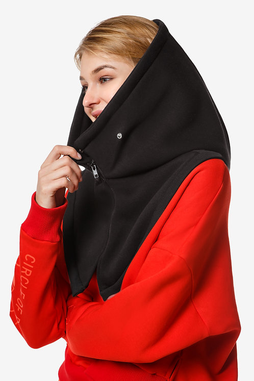 Oversized Hooded Scarf with mock collar