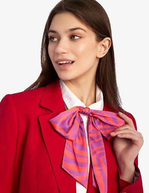 Silk bow tie pink animalistic print