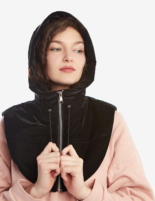 Puffer Hooded  Scarf Black