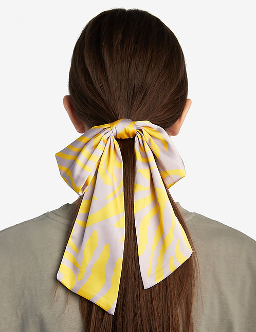 Silk bow tie yellow zebra print